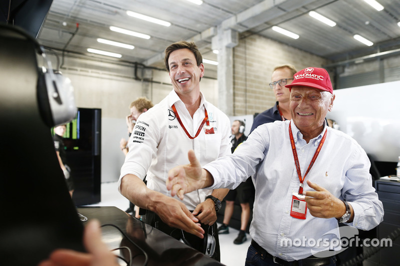 Toto Wolff, Mercedes AMG F1 Shareholder and Executive Director with Niki Lauda, Mercedes Non-Executi