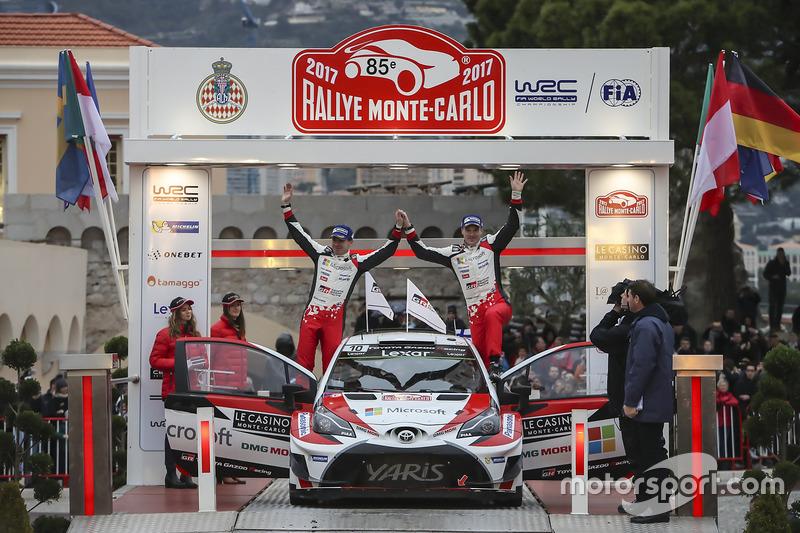 Segundos clasificados Jari-Matti Latvala, Miikka Anttila, Toyota Yaris WRC, Toyota Racing