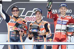 Podium : le vainqueur Dani Pedrosa, Repsol Honda Team, le deuxième Marc Marquez, Repsol Honda Team, le troisième Jorge Lorenzo, Ducati Team