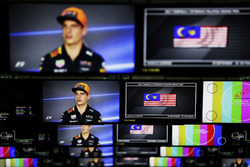 Max Verstappen, Red Bull Racing, is pictured on television screens in the media centre