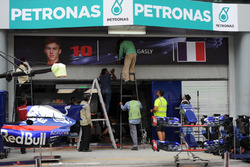 Garage sign of Pierre Gasly, Scuderia Toro Rosso is erected