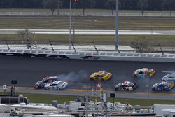 Denny Hamlin, Joe Gibbs Racing Toyota, collides with Brad Keselowski, Team Penske Ford