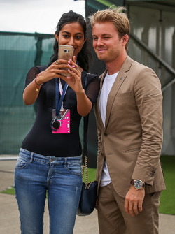 Nico Rosberg, Mercedes-Benz Ambassador poses for a selfie photograph, a fan