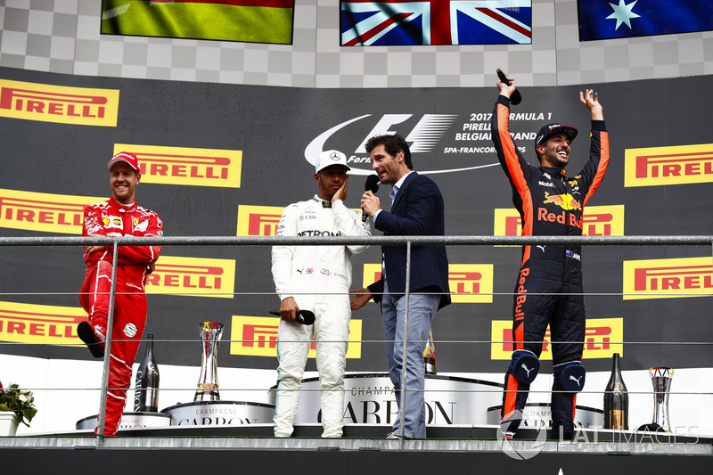 Podium: Mark Webber, Channel 4 F1, interviews Race winner Lewis Hamilton, Mercedes AMG F1, Sebastian Vettel, Ferrari and Daniel Ricciardo, Red Bull Racing