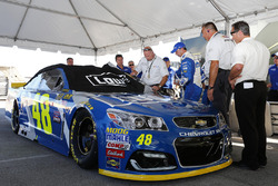 The car of Jimmie Johnson, Hendrick Motorsports Chevrolet pulled for reinspection before the race