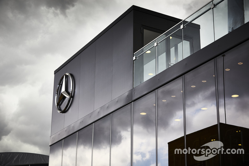 Mercedes AMG F1 hospitality area in the paddock