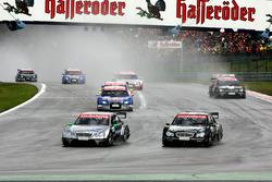 Gary Paffett, AMG Mercedes, and Mika Hakkinen, AMG Mercedes, leading