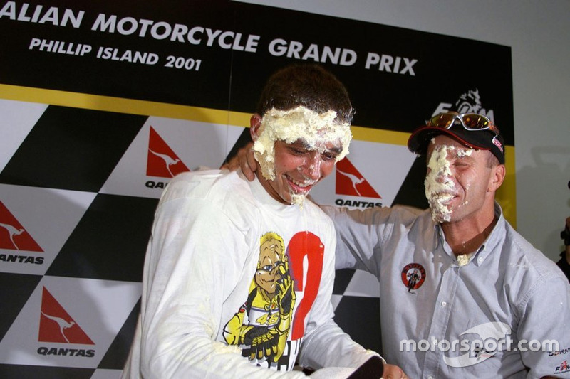 Rossi celebrates his first MotoGP title