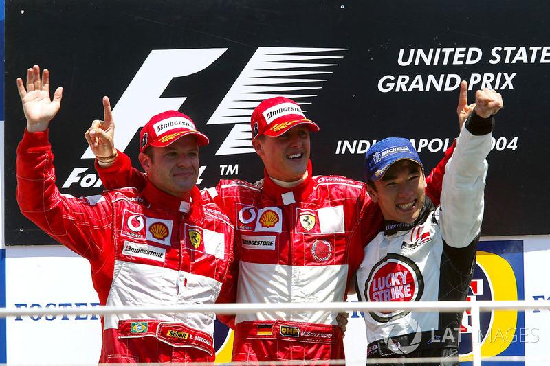 Podyum: 2. Rubens Barrichello. Ferrari, yarış galibi Michael Schumacher, Ferrari, 3. Takuma Sato, BAR