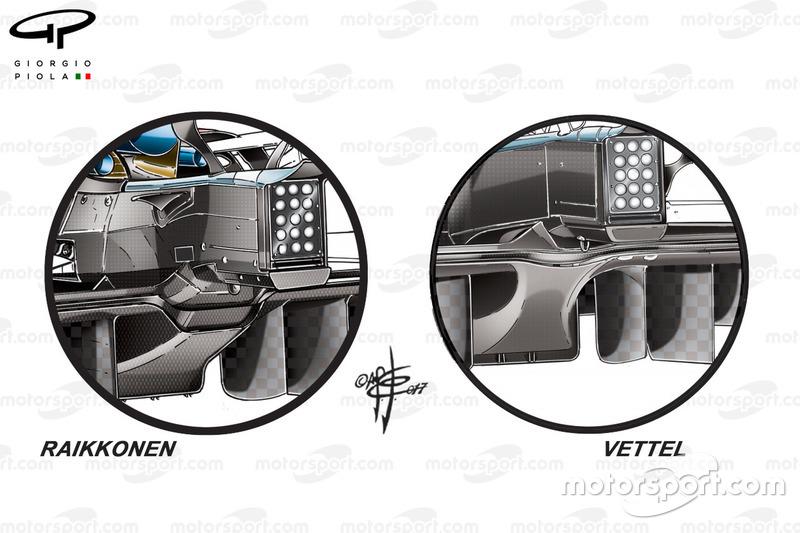 Ferrari SF70H diffusers vergelijking
