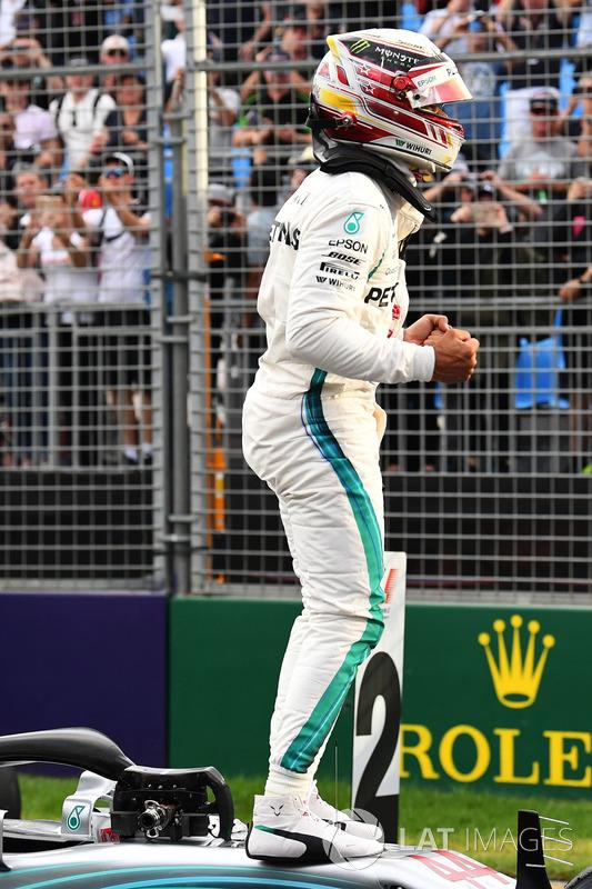 Pole sitter Lewis Hamilton, Mercedes-AMG F1 celebrates in parc ferme