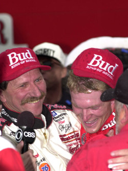 Race winner Dale Earnhardt, Jr. shares his victory with his father, Dale Earnhardt