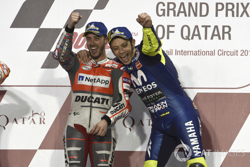 Winner Andrea Dovizioso, Ducati Team,third place Valentino Rossi, Yamaha Factory Racing