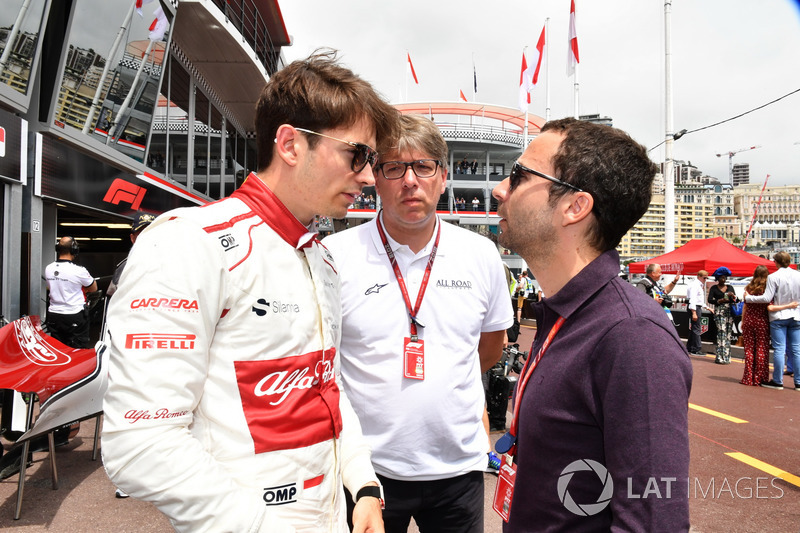 Charles Leclerc, Sauber and Nicolas Todt, Driver Manager