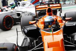 Fernando Alonso, McLaren MCL32, celebrates as he returns to Parc Ferme with Felipe Massa, Williams FW40