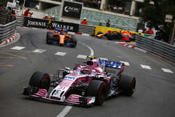 Esteban Ocon, Force India VJM11, leads Fernando Alonso, McLaren MCL33