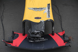The damaged car of Max Verstappen, Red Bull Racing