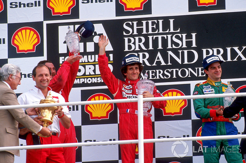 Podium:  race winner Alain Prost, McLaren, second place Nigel Mansell, Ferrari, third place Alessandro Nannini, Benetton with Ron Dennis, McLaren Team Leader