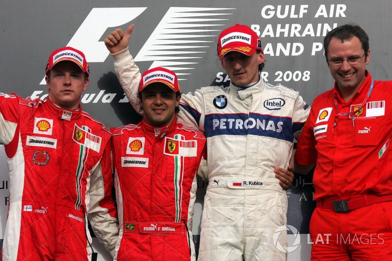 2008. Подіум: 1. Феліпе Масса, Ferrari. 2. Кімі Райкконен, Ferrari. 3. Роберт Кубіца, BMW Sauber