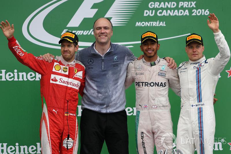 Podium: 1. Lewis Hamilton, Mercedes; 2. Sebastian Vettel, Ferrari; 3. Valtteri Bottas, Williams