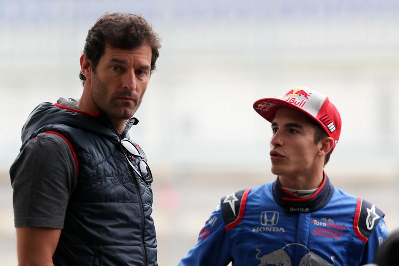 Марк Маркес, тестує автомобіль Toro Rosso, та екс-гонщик Формули 1, Марк Веббер