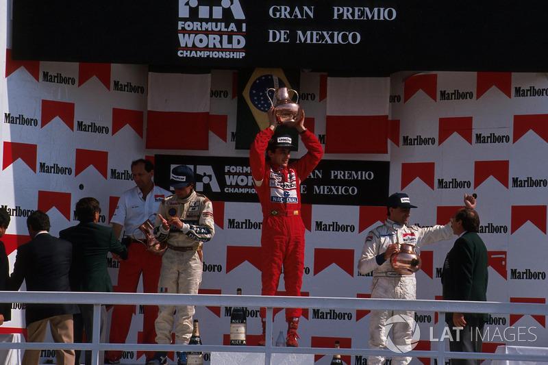 1989: 1. Ayrton Senna, 2. Riccardo Patrese, 3. Michele Alboreto