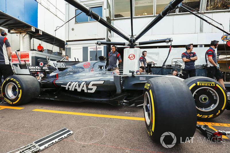 Romain Grosjean's Haas F1 Team VF-17 in the pits