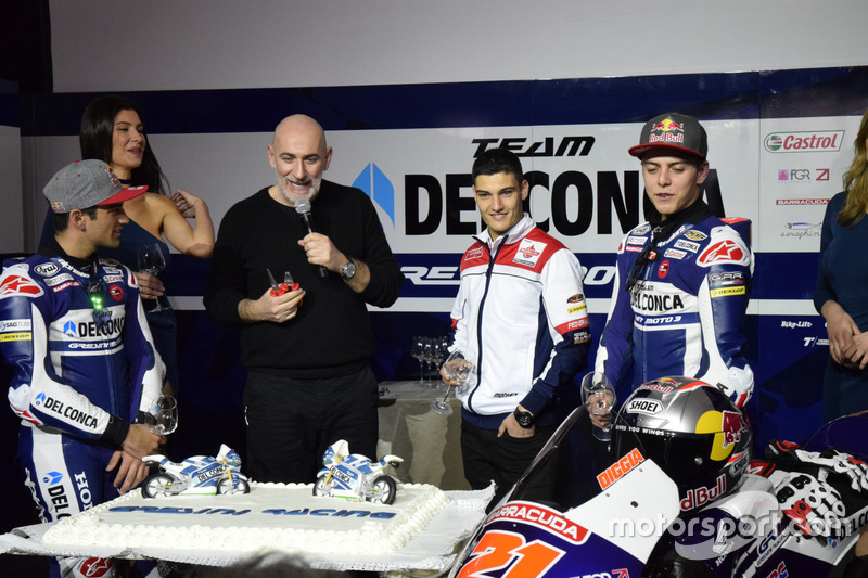 Jorge Martín, Gresini Racing Team y Fabio Di Giannantonio, Gresini Racing Team con Jorge Navarro, Federal Oil Gresini Moto2