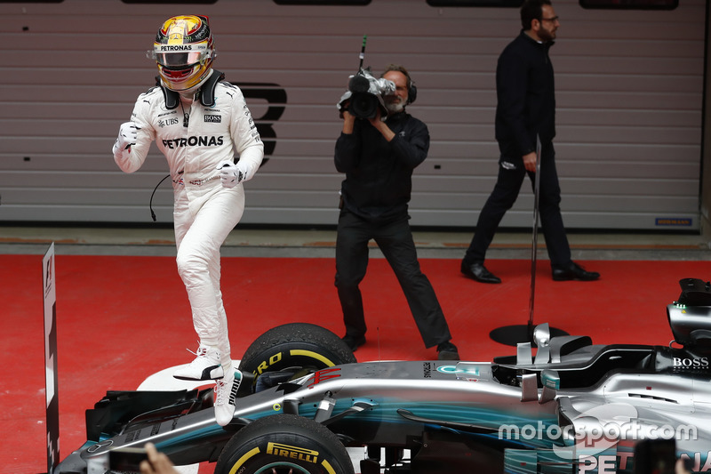 Lewis Hamilton, Mercedes AMG, celebrates on arrival in parc ferme