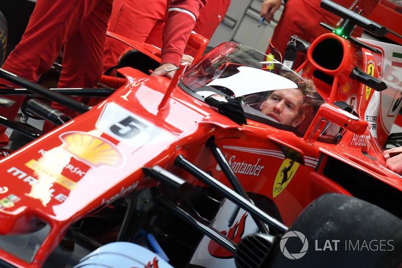 Sebastian Vettel, Ferrari SF70-H with cockpit shield