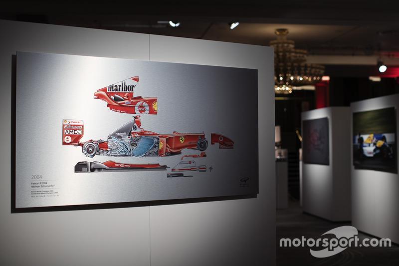 Una ilustración de Giorgio Piola sobre el Ferrari 2004 de Michael Schumacher