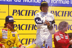 Podium: race winner Nelson Piquet, Brabham BMW, second place Keke Rosberg, Williams Honda, third pla