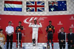 Race winner Lewis Hamilton, Mercedes AMG F1, Max Verstappen, Red Bull, second place, Third place Daniel Ricciardo, Red Bull Racing, on the podium