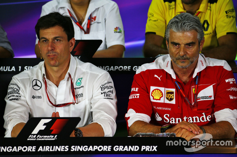 (L to R): Toto Wolff, Mercedes AMG F1 Shareholder and Executive Director and Maurizio Arrivabene, Fe