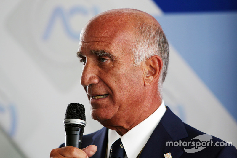 Dr. Angelo Sticchi Damiani, Aci Csai President at a Monza circuit announcement