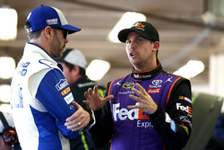 Jimmie Johnson, Hendrick Motorsports Chevrolet and Denny Hamlin, Joe Gibbs Racing Toyota