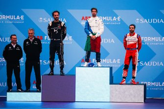 Antonio Felix da Costa, BMW I Andretti Motorsports celebrates victory on the podium with second position Jean-Eric Vergne, DS TECHEETAH, third position Jérôme d'Ambrosio, Mahindra Racing