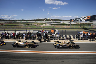 Andre Lotterer, DS TECHEETAH, DS E-Tense FE19 and Jean-Eric Vergne, DS TECHEETAH, DS E-Tense FE19 leave the pit lane