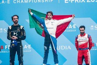 Podium: race winner Antonio Felix da Costa, BMW I Andretti Motorsports, second place, Jean-Eric Vergne, DS TECHEETAH, third place, Jérôme d'Ambrosio, Mahindra Racing
