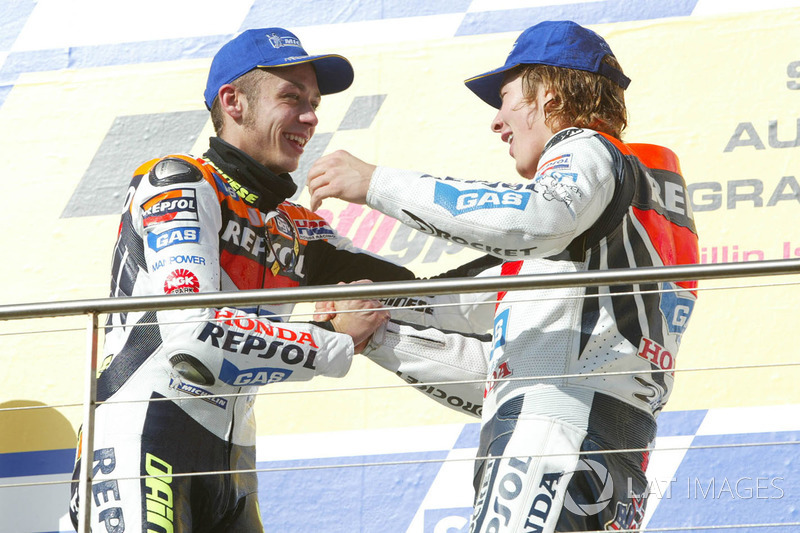 Podium: race winner Valentino Rossi, Repsol Honda Team, third place Nicky Hayden, Repsol Honda Team