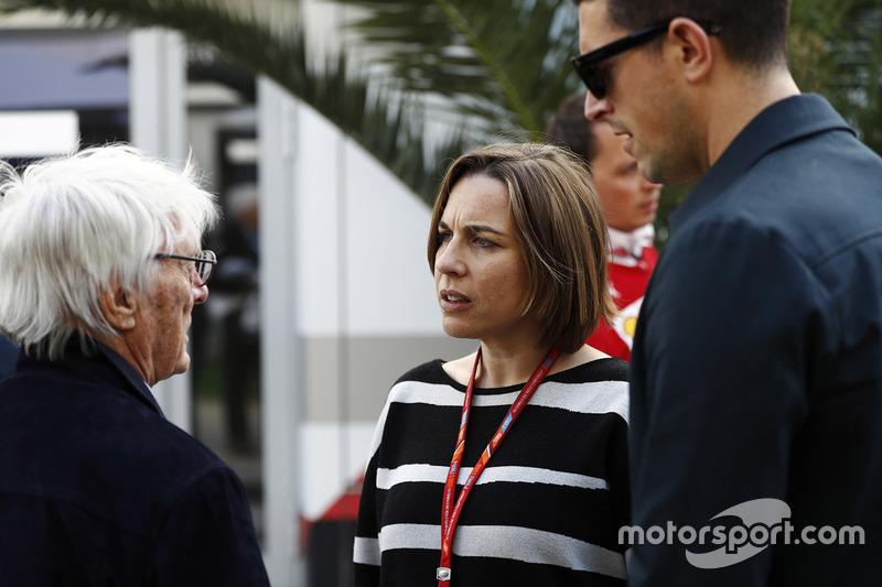 Bernie Ecclestone, Chairman Emeritus of Formula 1, talks to Claire Williams, Deputy Team Principal,