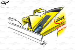 Jordan EJ11 sidepod winglets, chimney and exhaust