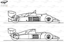 Ferrari F1-86 1986 comparison to 156/85 of 1985 (top)