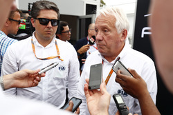 Charlie Whiting talks to the media