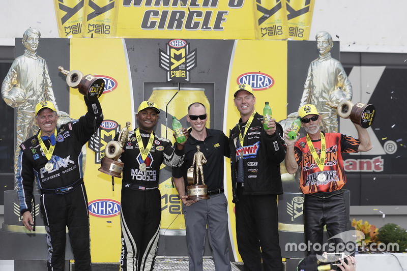 Funny Car winner John Force, Top Fuel winner Antron Brown, Pro Stock winner Jason Line, Pro Stock Bi