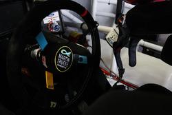 The steering wheel of Martin Truex Jr., Furniture Row Racing Toyota