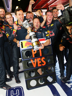 The Red Bull Racing celebrate victory for Max Verstappen, Red Bull Racing
