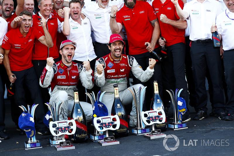 Lucas di Grassi, Audi Sport ABT Schaeffler., Daniel Abt, Audi Sport ABT Schaeffler. fêtent le titre avec l'équipe