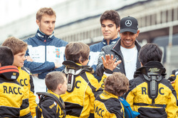 Lewis Hamilton, Mercedes-AMG F1 amd Sergey Sirotkin, Williams and Lance Stroll, Williams with the RACC Cadet Karters
