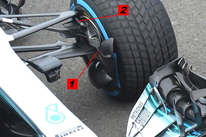 Mercedes AMG F1 W09 conducto de frenos y detalle de la suspensión
